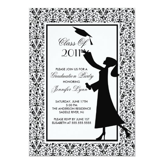 Black Damask Graduation Invitation Silhouette Grad