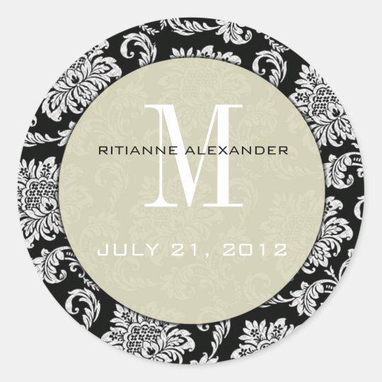 Black Damask Grey Monogram Wedding Sticker