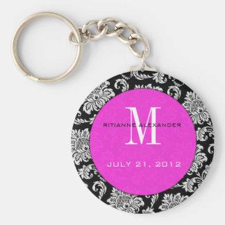 Black Damask Hot Pink Monogram Wedding Keychain