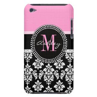 Black Damask iPod Case | Monogram Pink