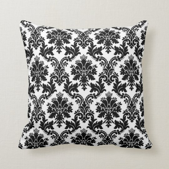 Black Damask Lace Broquade Couch Throw Pillow