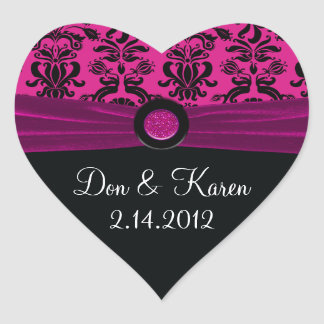 Black Damask, Magenta Heart Heart Stickers