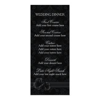 Black damask menu template lace rose