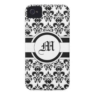 Black damask & monogram iPhone 4 case