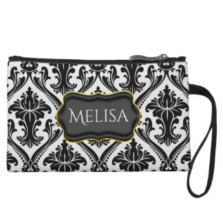 Black Damask Monogram Mini Clutch Bagettes Bags Wristlet Purses