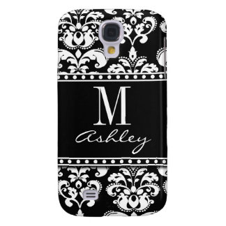Black Damask Monogram Name Galaxy S4 Case
