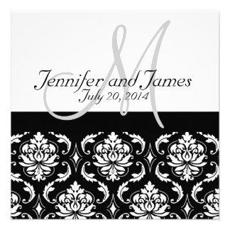 Black Damask Monogram Names Wedding Invitations