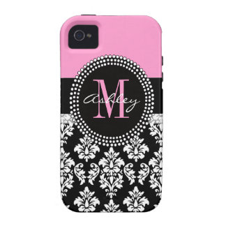 Black Damask Monogram Pink Vibe iPhone 4 Cover