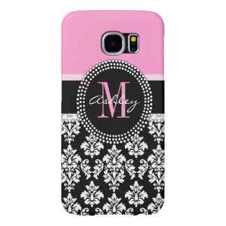 Black Damask Monogram Pink Samsung Galaxy S6 Cases