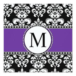 Black Damask Monogram Wedding Invitations Purple