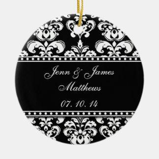 Black Damask Names Date Wedding Ornaments