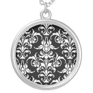 Black Damask Round Pendant Necklace