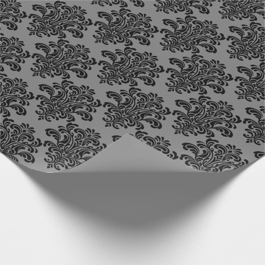 Black Damask on Grey Elegant Pattern Wrapping Paper
