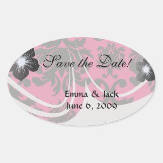 black damask on raspberry bold oval sticker