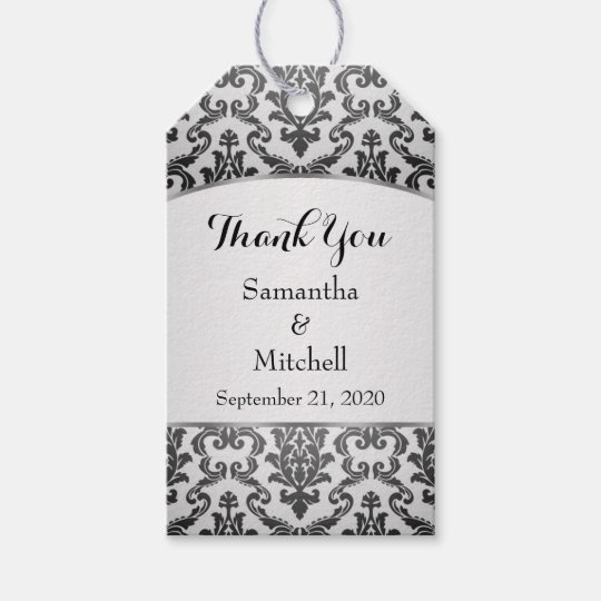 Black damask on silver grey Wedding Thank You