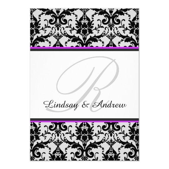 Black Damask Orchid Grey Monogram Wedding Card