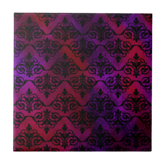 Black Damask over Purple and Red Ceramic Tiles