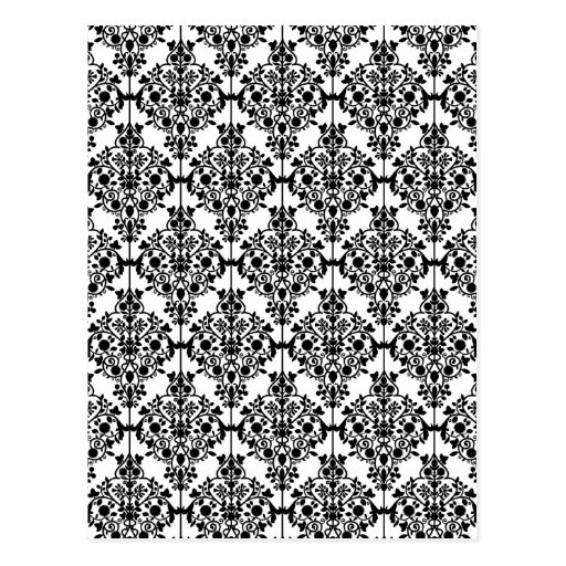 Black Damask Pattern 1 Vintage Floral Post Cards