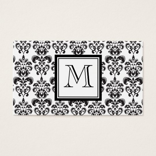 Black Damask Pattern 2 with Your Monogram Business Card