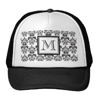 Black Damask Pattern 2 with Your Monogram Cap
