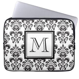 Black Damask Pattern 2 with Your Monogram Laptop Sleeve