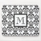Black Damask Pattern 2 with Your Monogram Mouse Mat
