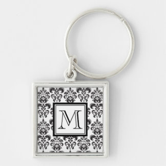 Black Damask Pattern 2 with Your Monogram Silver-Colored Square Key Ring