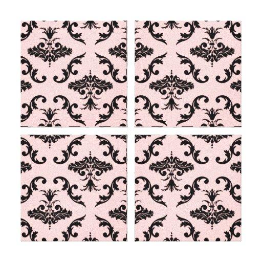 Black Damask Pattern Canvas Prints