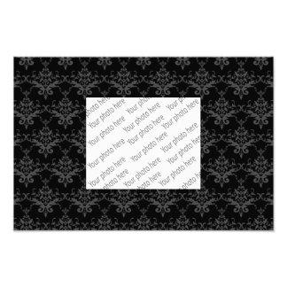 Black damask pattern photographic print