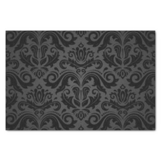 Black Damask Pattern Print Design Tissue Paper
