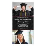 Black Damask Photo Graduation Card Photo Card Template