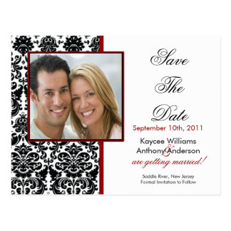 Black Damask Photo Save The Date POSTCARD! Postcard