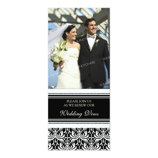 Black Damask Photo Wedding Vow Renewal Invitations