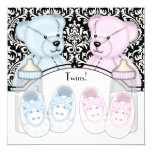 Black Damask Pink Blue Teddy Bear Twin Baby Shower Personalised Announcements
