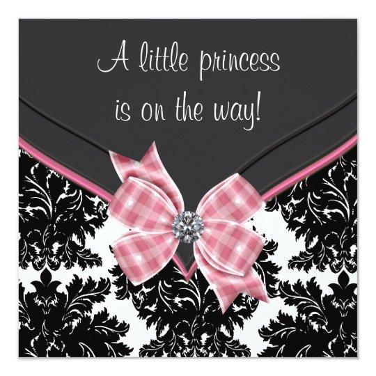 Black Damask Pink Bow Princess Baby Shower 13 Cm X 13 Cm Square Invitation Card