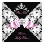Black Damask Pink Bow Princess Baby Shower Diamond Personalised Invitations