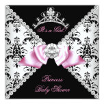 Black Damask Pink Bow Princess Baby Shower Diamond Personalised Invitations