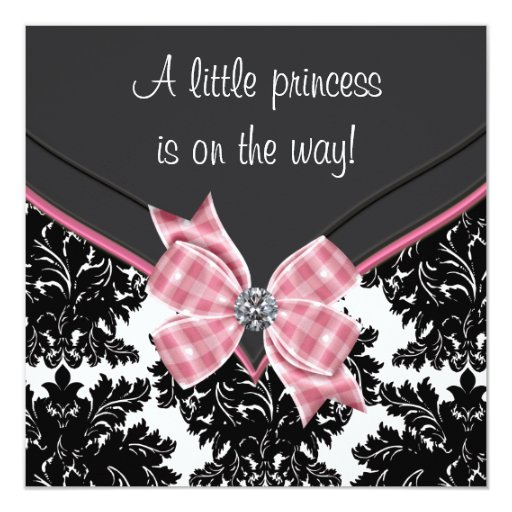 Black Damask Pink Bow Princess Baby Shower Custom Announcements