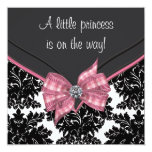 Black Damask Pink Bow Princess Baby Shower Personalised Invites