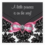 Black Damask Pink Bow Princess Baby Shower Personalised Announcements