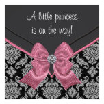 Black Damask Pink Bow Princess Baby Shower Custom Invitations