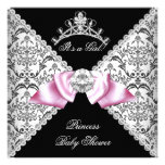 Black Damask Pink Bow Princess Baby Shower Pink Personalized Invite