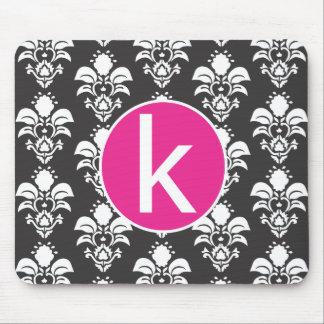 """Black Damask Pink Circle Mousepad Initial """"k"""""""