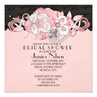 Black Damask Pink Flowers Bridal Shower Announcement