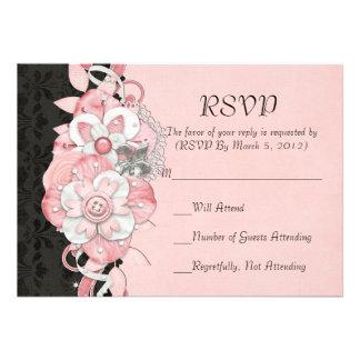 Black Damask Pink Flowers RSVP card