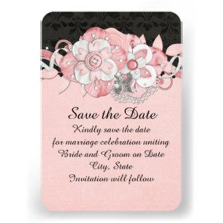 Black Damask Pink Flowers Save the date Custom Invite