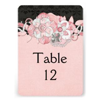 Black Damask Pink Flowers Table card