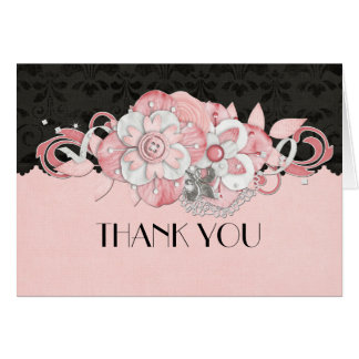 Black Damask Pink Flowers Thank you card