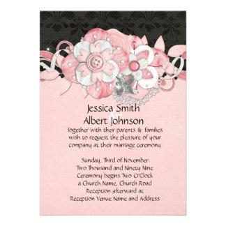 Black Damask Pink Flowers Wedding Invite