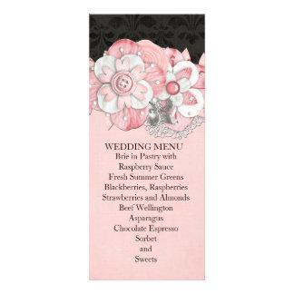 Black Damask Pink Flowers Wedding Menu Invite